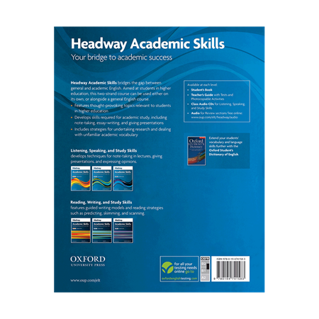 Headway Academic Skills   Listening   Speaking and Study Skills Level 3 Student Book     BackCover