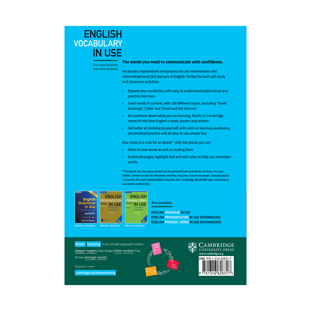 کتاب آموزش زبان لغت و اصطلاحات انگلیسی Vocabulary in Use English 4th